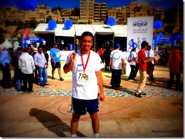 Moa'bite in at the celebration area of Samsung Amman International Marathon 2013.