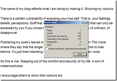 "The ""word count"" of words in the Blog of the ""mysterious"" blogger."