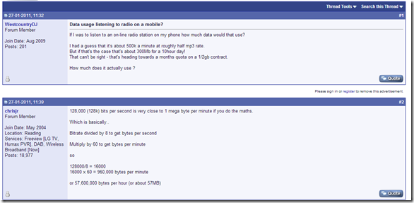 A post in a forum explaining how to calculate exactly how much data can listening to the radio over the internet consume.