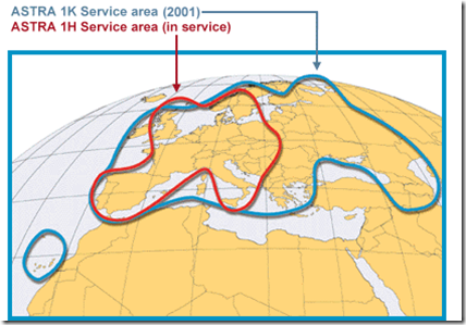 ASTRA 1H geograpical coverage.