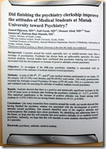 Abstract - Did finishing the pyschiatry clerkship increase the attitudes of medical students at Mutah University toward Pscyhiatry