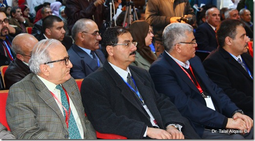 From the second person in the right side of the photo: Prof. Abdullah Abbadi, President of the Jordanian Society of Hematology, Prof. Rida Khawaldeh, President of Mutah University, and Dr. Zouhair Ammarin, Dean of the Faculty of Medicine at Mutah University.