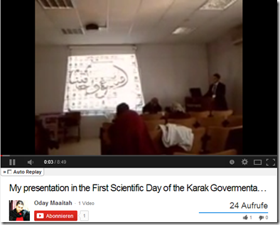 Video of my friend Dr. Oday Ma'aitah while presenting the results