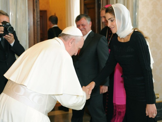 Pope Francis greets Queen Rania of Jordan on the occasion of the pontiff's private audience with King Abdullah II and his wife Queen Rania, at the Vatican, Thursday, Aug. 29, 2013.